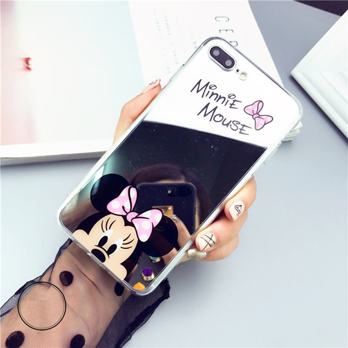 Mirror Cell Phone Case For iPhone 8 7 5 6 s 5SE 5s 6s Plus 6Plus 6sPlus 7Plus 8Plus Cartoon Mickey Minnie Cover TPU Casing