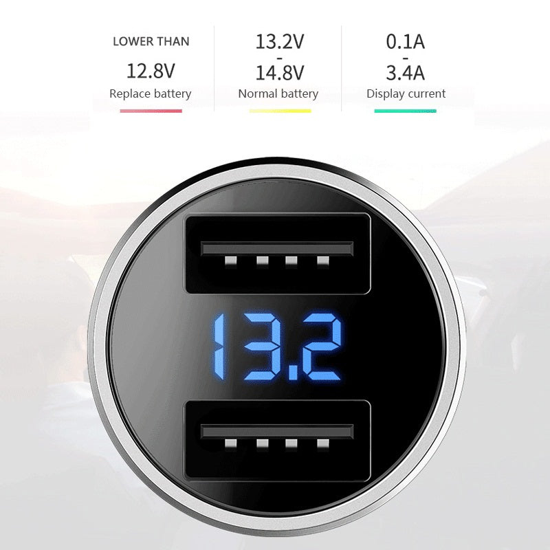 ROCK H2 Dual USB Car Charger Digital LED Display 5V 3.4A Phone Car-charger Fast Charging