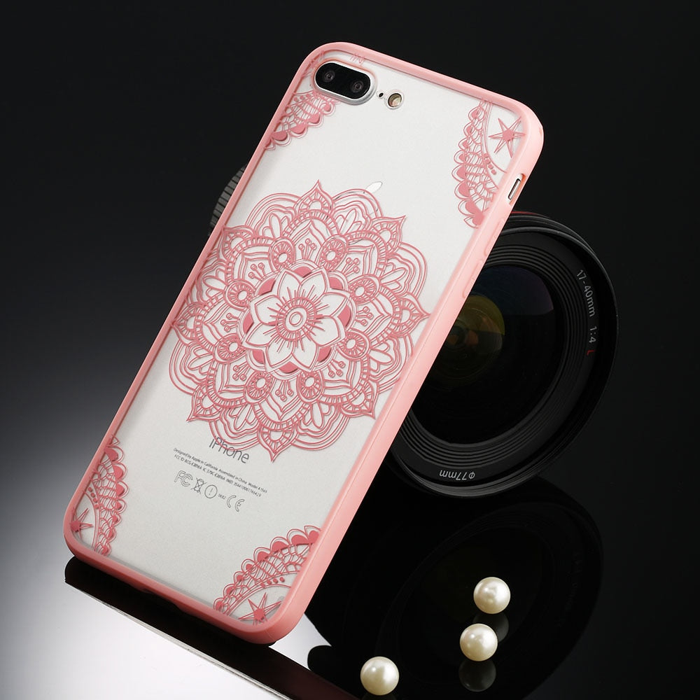 Sexy Floral Phone Case For Apple iPhone 7 8 6 6s 5 5s SE Plus Lace Flower Hard PC Cases Back Cover For iPhone X XR XS Max