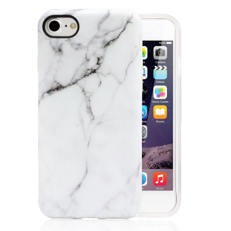 Marble Case For Iphone 7 Case Cover Silicone TPU Matte Cover Cases For Iphone 8 7 Plus X 6 6S Plus Luxury Case Fundas Capa