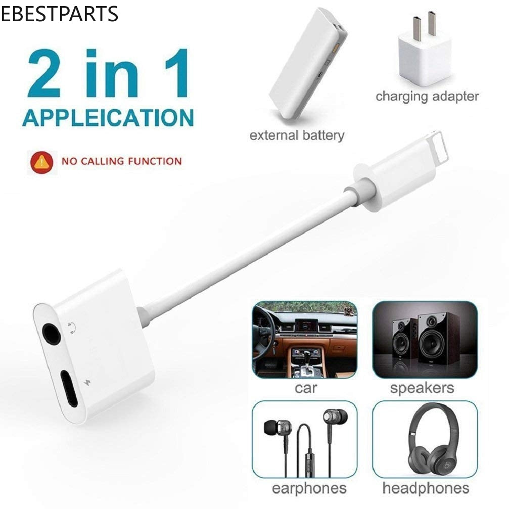 Ebestparts iPhone 2 in 1 Adapter to 3.5 mm Jack AUX Audio+Charger Adapter Lightning CableHot