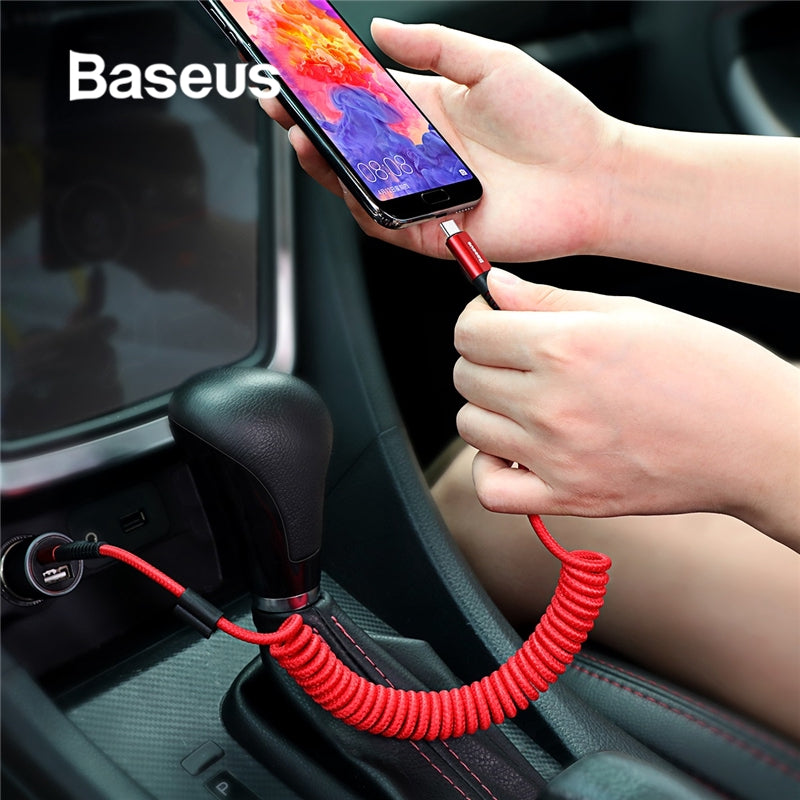 Baseus for Car Styling Storage Flexible 2A Charging Cable USB C for xiaomi Type-C Device Spring USB Type C Cable idea