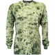 Army Green Crackle Tie Dye Long Sleeve T Shirt