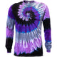 Purple Moon Spiral Tie Dye Long Sleeve T Shirt