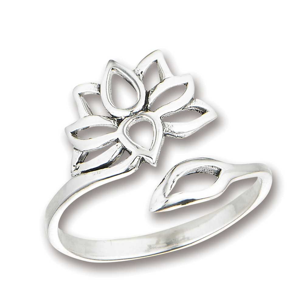 384ad5b496a18 Lotus Flower Sterling Silver Ring