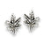 Pot Leaf Stud Sterling Silver Earrings