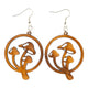 Mystical Mushroom Wooden Earrings