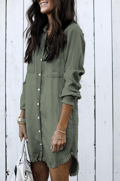 WenkWenk Denim Buttons Up Torn Edges Mini Shirt Dresses