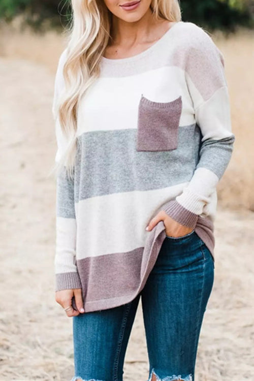 WenkWenk Casual Striped Knitting Sweaters