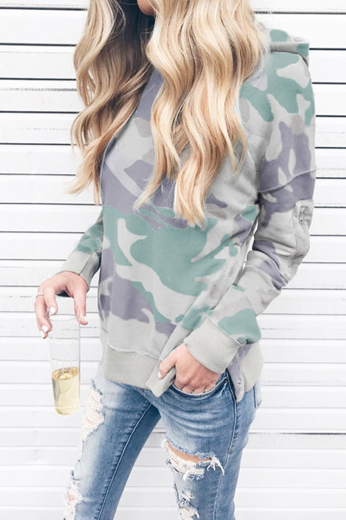 WenkWenk Casual Hooded Camouflage Hoodies