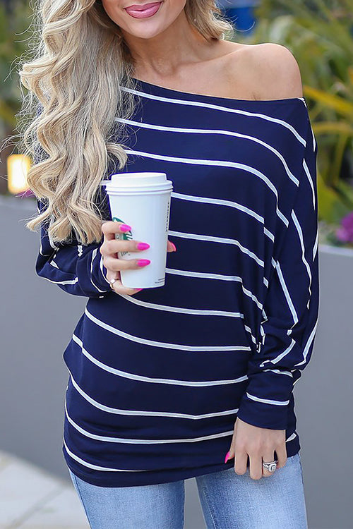 WenkWenk Casual Batwing Sleeves Striped T-shirt
