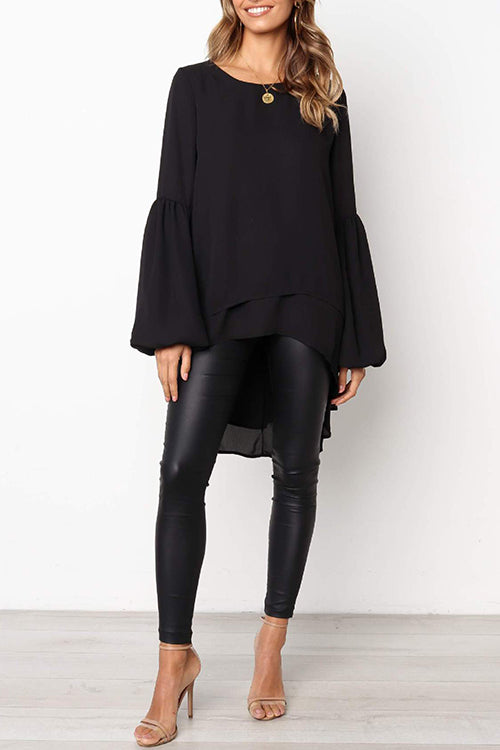 WenkWenk Puff Sleeves Irregular Hems Shirts