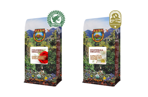 Colombian Rainforest Alliance Certified and Guatemala Bird-Friendly Certified Coffee