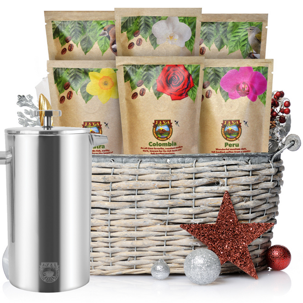 Gourmet Coffee Sampler and French Press Gift Set