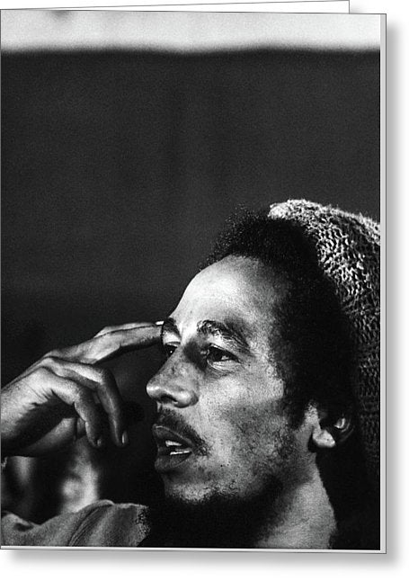 Bob Marley In Thought - Greeting Card