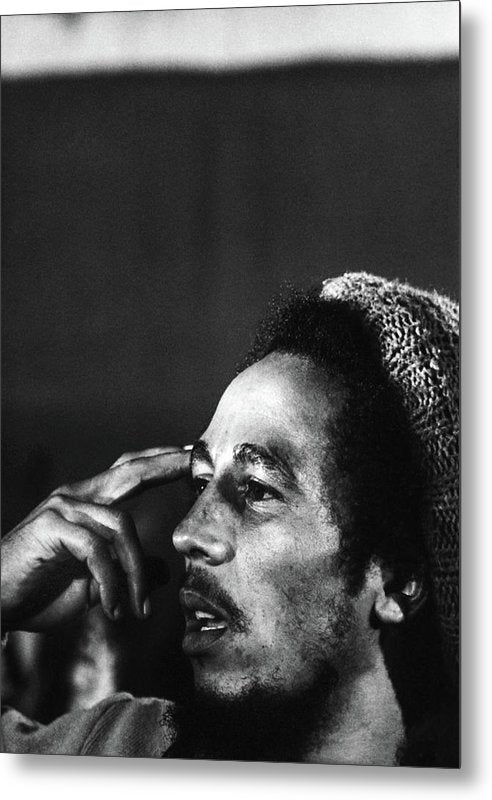 Bob Marley In Thought - Metal Print