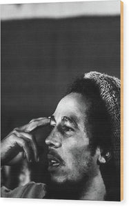 Bob Marley In Thought - Wood Print