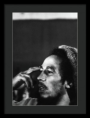 Bob Marley In Thought - Framed Print