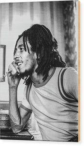 Bob Marley On Phone - Wood Print