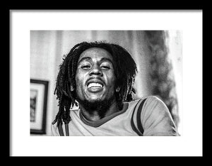 Bob Marley Smiles During Interview - Framed Print