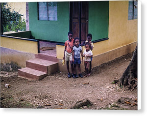 Children In The Front Yard in Jamaica - Canvas Print