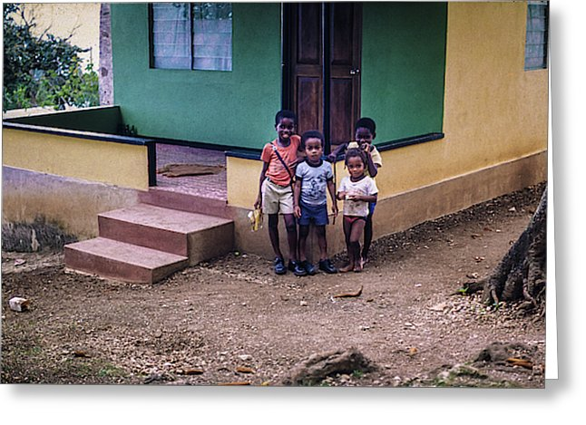 Children In The Front Yard in Jamaica - Greeting Card