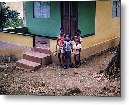 Children In The Front Yard in Jamaica - Metal Print