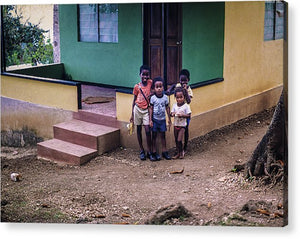 Children In The Front Yard in Jamaica- Acrylic Print