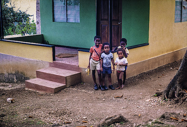 Children In The Front Yard in Jamaica - Art Print