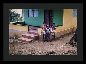 Children In The Front Yard in Jamaica - Framed Print