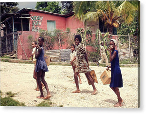 Children On Their Way In Jamaica - Acrylic Print