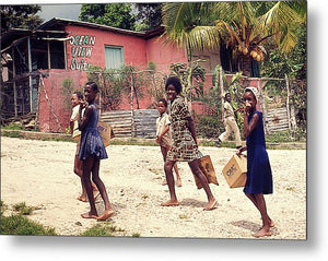 Children On Their Way In Jamaica - Metal Print