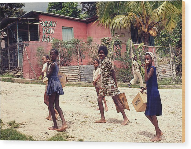 Children On Their Way In Jamaica - Wood Print