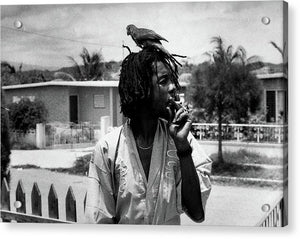 Peter Tosh Burning A Spliff In His Front Yard With His Parrot Freddie- Acrylic Print