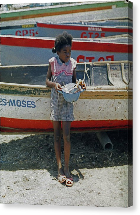 Girl By Boats In Jamaica- Canvas Print