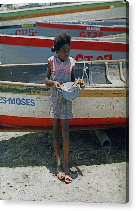 Girl By Boats on Beach In Jamaica - Acrylic Print