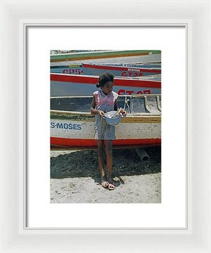 Girl By Boats - Framed Print
