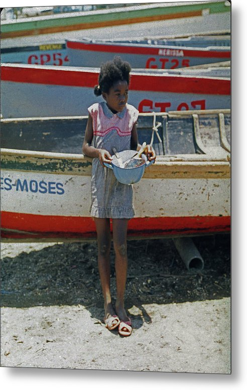 Girl By Boats - Metal Print