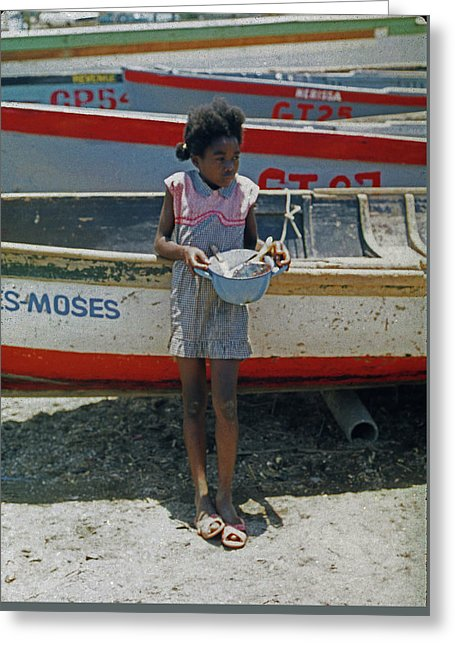 Girl By Boats In Jamaica- Greeting Card