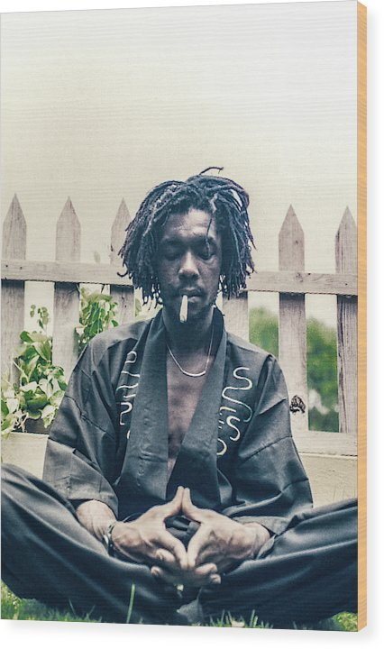 Peter Tosh In Meditation With Spliff - Wood Print