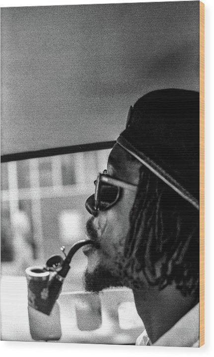 Peter Tosh Profile With Herb Pipe  - Wood Print