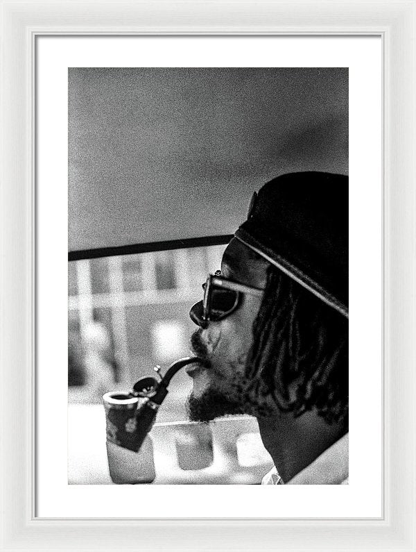 Peter Tosh Profile With Herb Pipe  - Framed Print