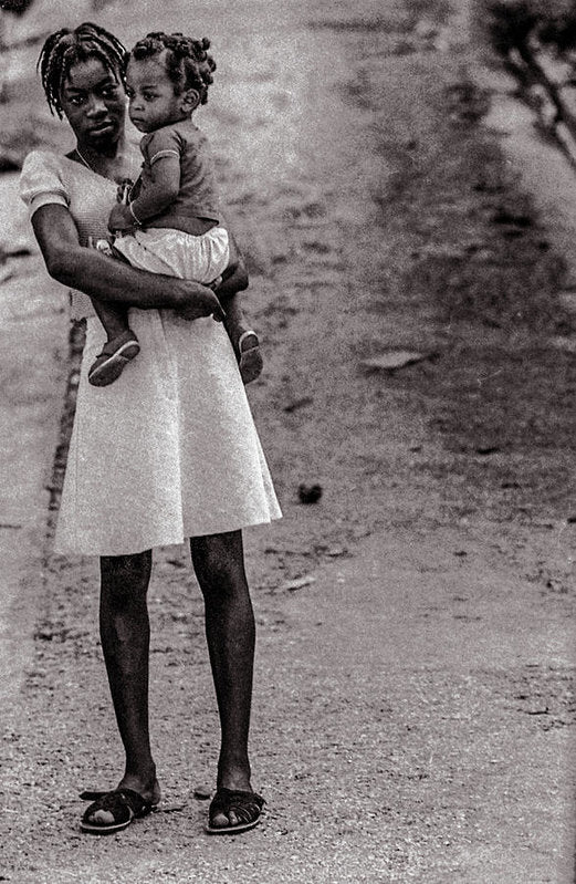 Woman On Road With Child In Jamaica- Art Print