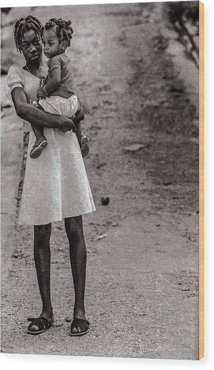 Woman On Road With Child In Jamaica- Wood Print