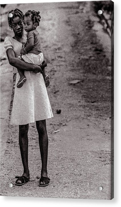 Woman On Road With Child In Jamaica - Acrylic Print