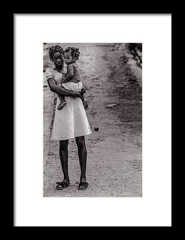 Woman On Road With Child In Jamaica - Framed Print