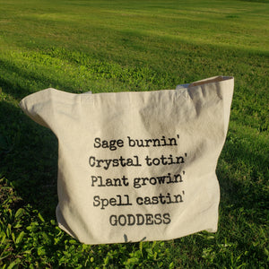 Goddess & her Sage, Crystals, Plants Tote bag