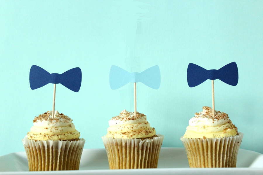Blue Bow Tie Cupcake Toppers | Set of 12
