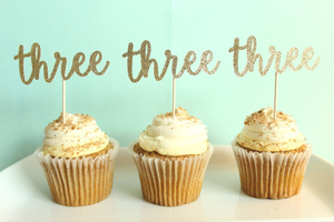 """Three"" Cupcake Toppers 