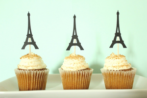 Eiffel Tower Paris Cupcake Toppers | Set of 12